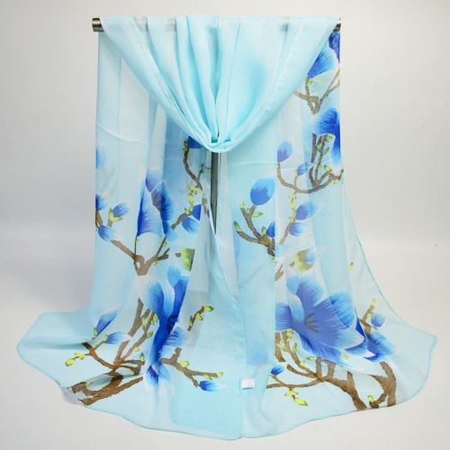 Magnolia Floral Blue Print Scarf